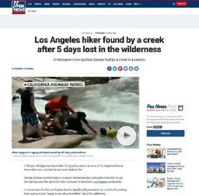 Los Angeles hiker found by a creek after 5 days lost in the wilderness