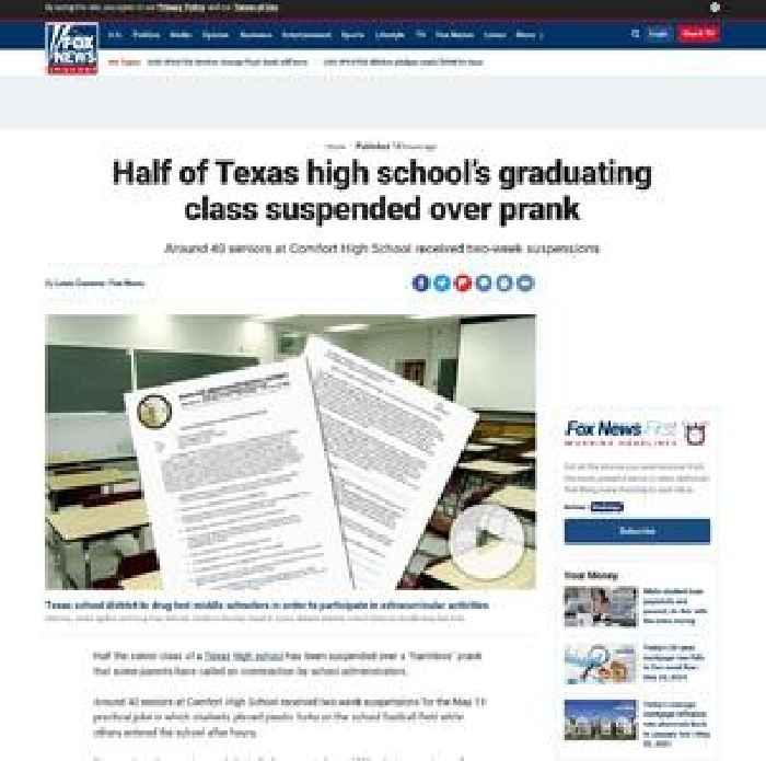 Half of Texas high school's graduating class suspended over prank