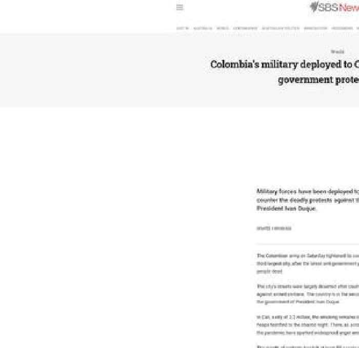 Military deployed to Cali as Colombia marks full month of protests