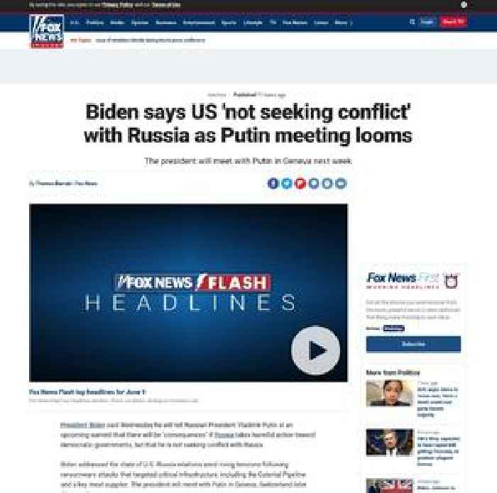 Biden says US 'not seeking conflict' with Russia as Putin meeting looms