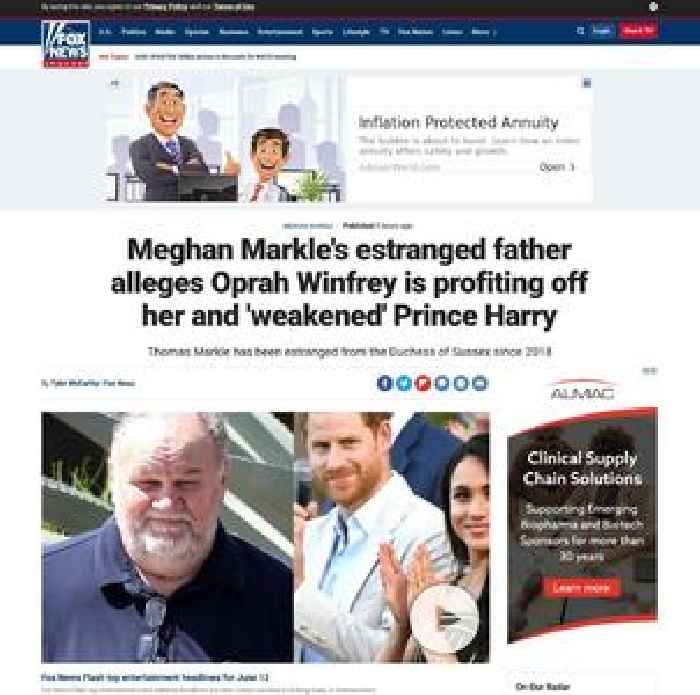 Meghan Markle's estranged father alleges Oprah Winfrey is profiting off her and 'weakened' Prince Harry