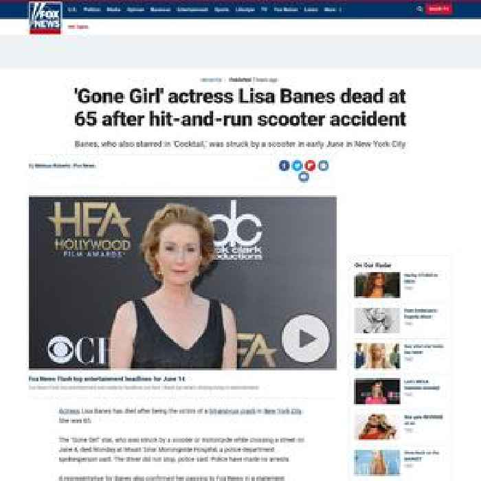 'Gone Girl' actress Lisa Banes dead at 65 after hit-and-run scooter accident: report