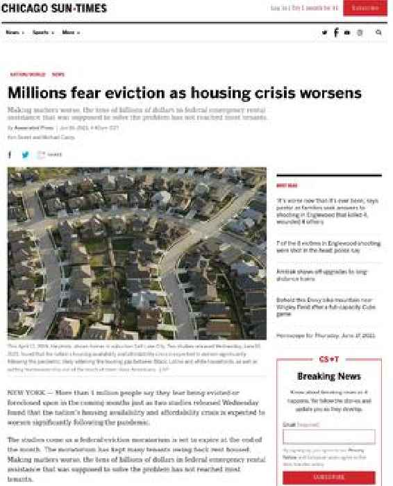 Millions fear eviction as housing crisis worsens
