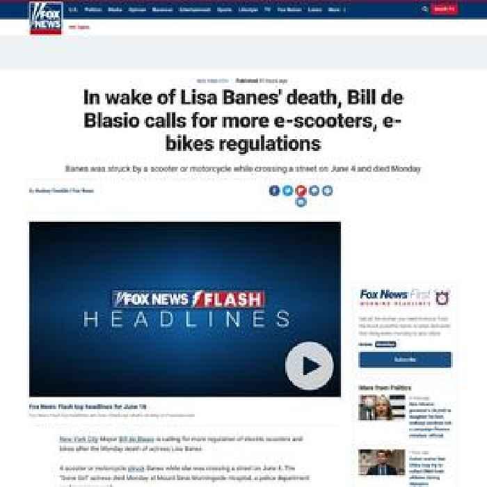 In wake of Lisa Banes' death, Bill de Blasio calls for more e-scooters, e-bikes regulations