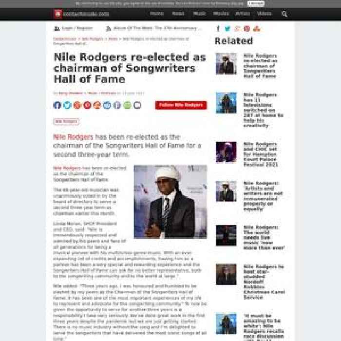 Nile Rodgers re-elected as chairman of Songwriters Hall of Fame