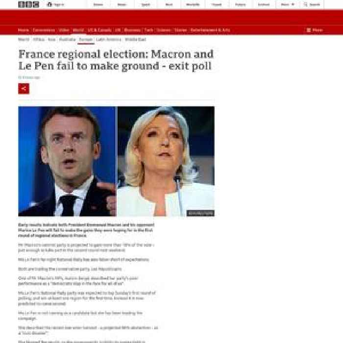 France election: Macron and Le Pen fail to make ground - exit poll