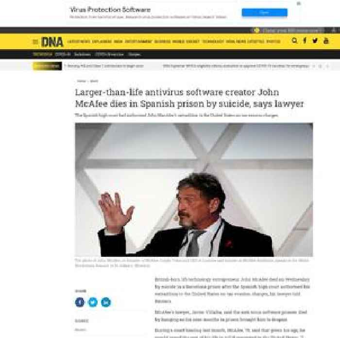 Larger-than-life antivirus software creator John McAfee dies in Spanish prison by suicide, says lawyer