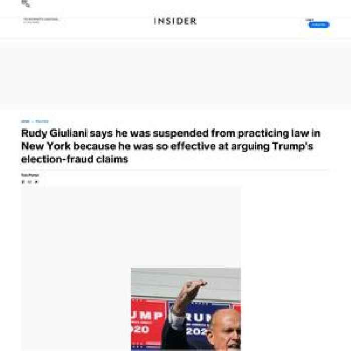 Rudy Giuliani says he was suspended from practicing law in New York because he was so effective at arguing Trump's election-fraud claims