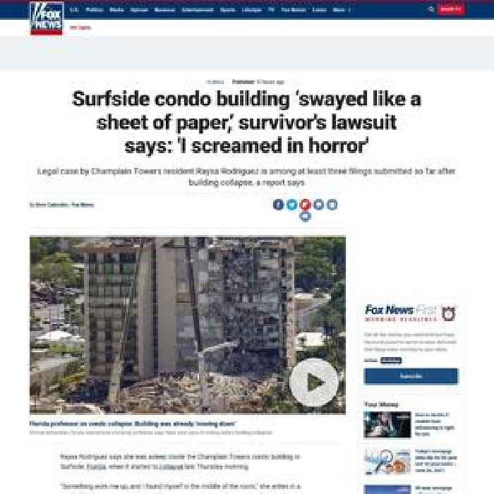 Surfside condo building 'swayed like a sheet of paper,' survivor's lawsuit says: 'I screamed in horror'