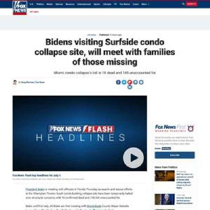 Bidens visiting Surfside condo collapse site, will meet with families of those missing