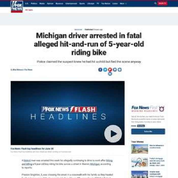 Michigan driver arrested in fatal alleged hit-and-run of 5-year-old riding bike