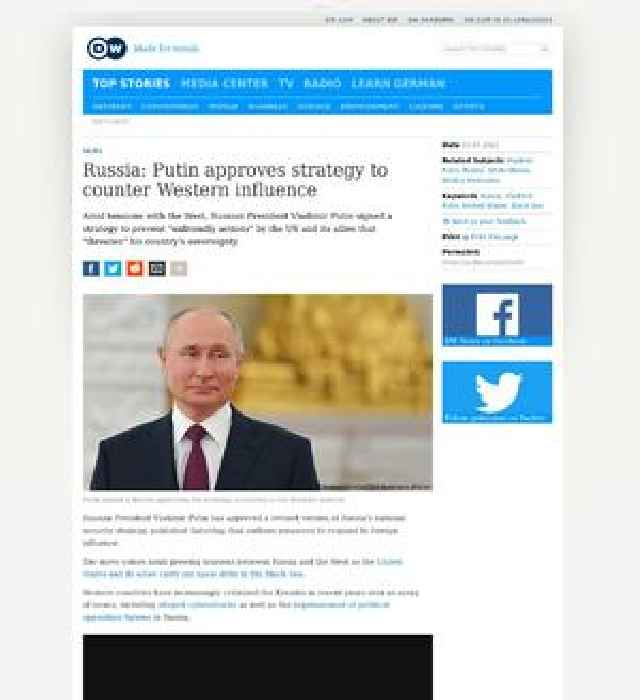 Russia: Putin approves strategy to counter Western influence