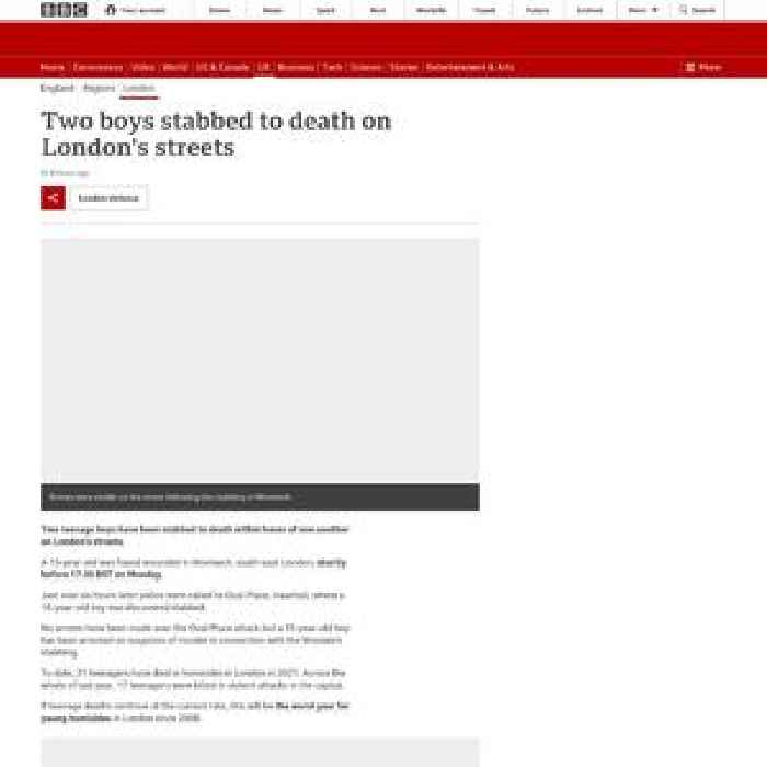 Two teens fatally stabbed on London's streets