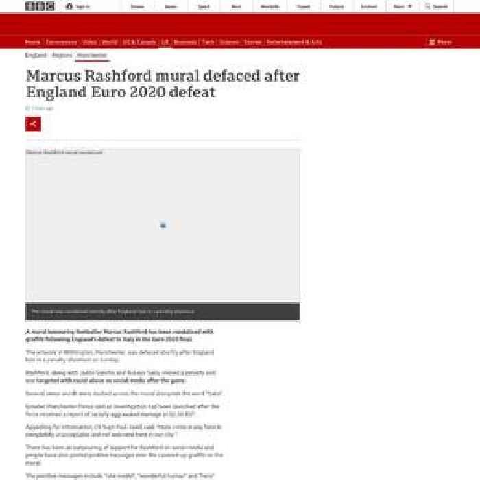 Marcus Rashford mural defaced after England Euro 2020 defeat