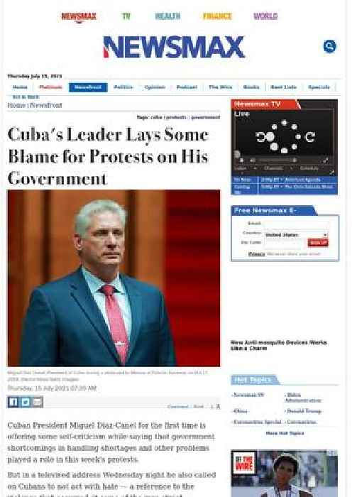 Cuba's Leader Lays Some Blame for Protests on His Government