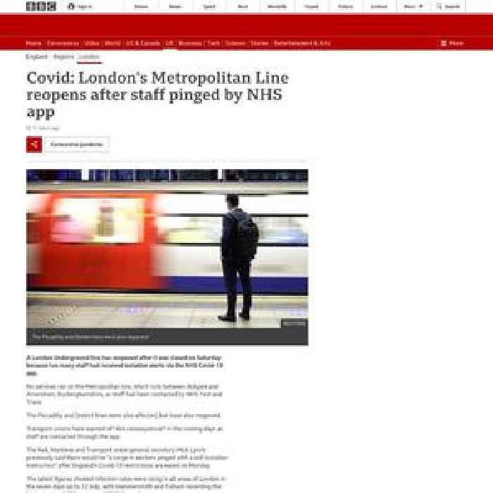 Covid: London's Metropolitan Line reopens after staff pinged by NHS app