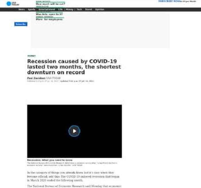 Recession caused by COVID-19 lasted two months, the shortest downturn on record