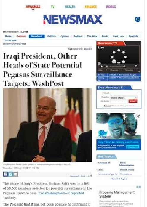 Iraqi President, Other Heads of State Potential Pegasus Surveillance Targets: WashPost