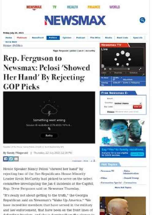 Rep. Ferguson to Newsmax: Pelosi 'Showed Her Hand' By Rejecting GOP Picks