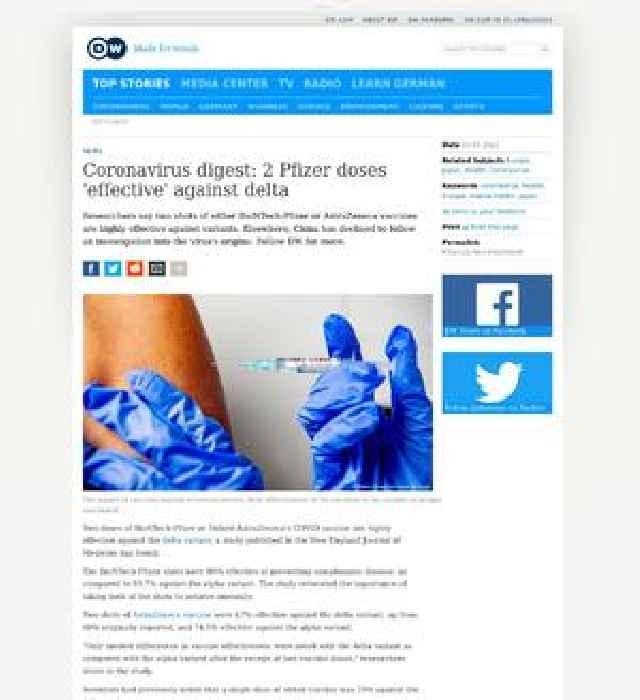 Coronavirus digest: 2 Pfizer doses 'effective' against delta