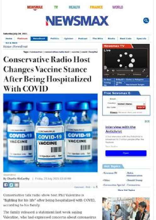 Conservative Radio Host Changes Vaccine Stance After Being Hospitalized With COVID