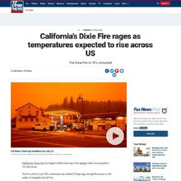California's Dixie Fire rages as temperatures expected to rise across US