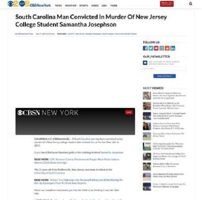 South Carolina Man Convicted In Murder Of New Jersey College Student Samantha Josephson