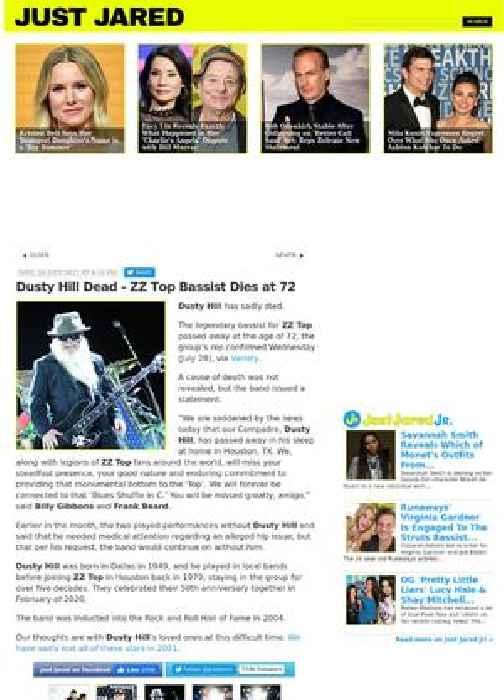 Dusty Hill Dead - ZZ Top Bassist Dies at 72