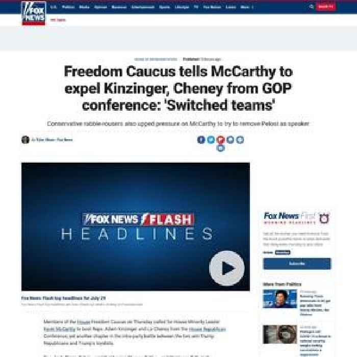 Freedom Caucus tells McCarthy to expel Kinzinger, Cheney from GOP conference: 'Switched teams'