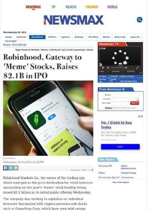 Robinhood, Gateway to 'Meme' Stocks, Raises $2.1B in IPO