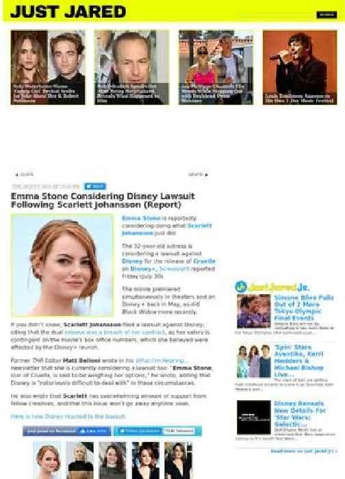 Emma Stone Considering Disney Lawsuit Following Scarlett Johansson (Report)