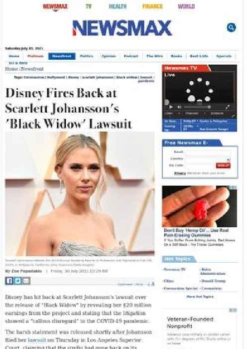 Disney Fires Back at Scarlett Johansson's 'Black Widow' Lawsuit