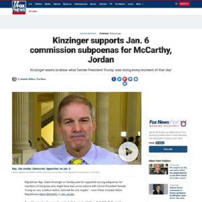 Kinzinger supports Jan. 6 commission subpoenas for McCarthy, Jordan
