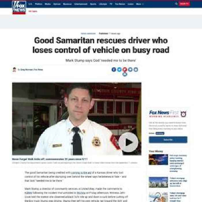 Good Samaritan rescues driver who loses control of vehicle on busy road