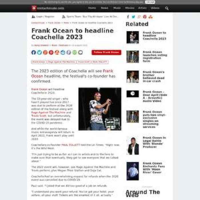 Frank Ocean to headline Coachella 2023