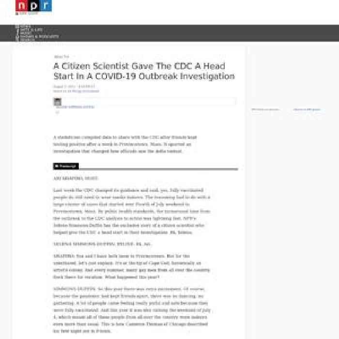 A Citizen Scientist Gave The CDC A Head Start In A COVID-19 Outbreak Investigation