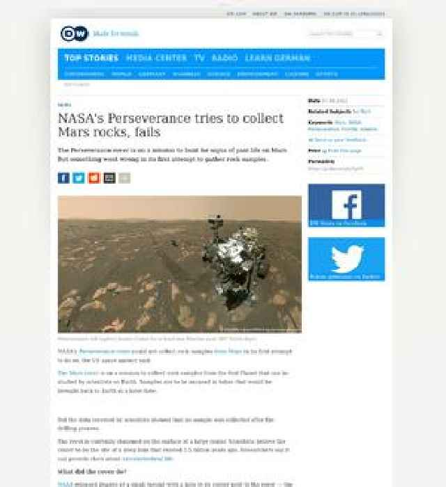 NASA's Perseverance tries to collect Mars rocks, fails