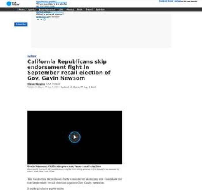 California Republicans skip endorsement fight in September recall election of Gov. Gavin Newsom