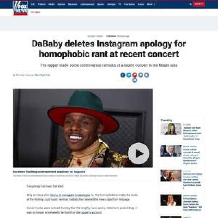 DaBaby deletes Instagram apology for homophobic rant at recent concert