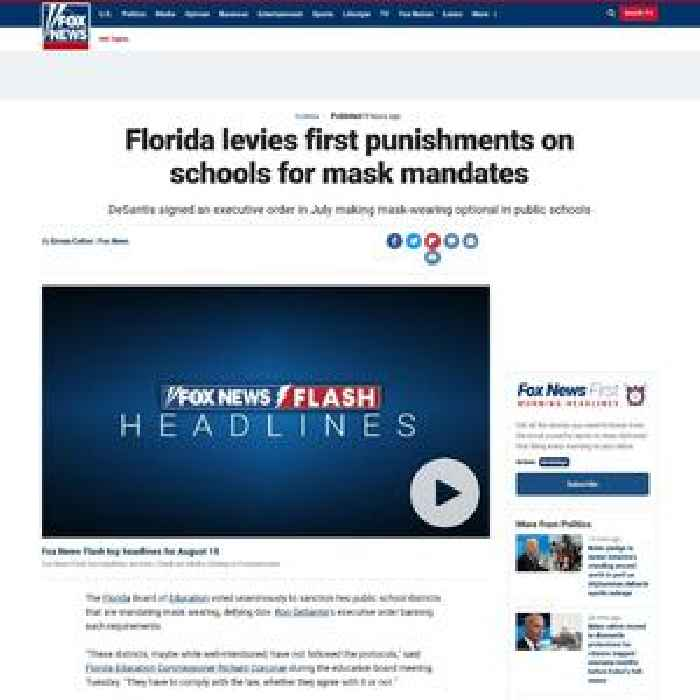 Florida levies first punishments on schools for mask mandates