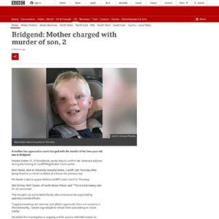 Bridgend: Mother charged with murder of son, 2