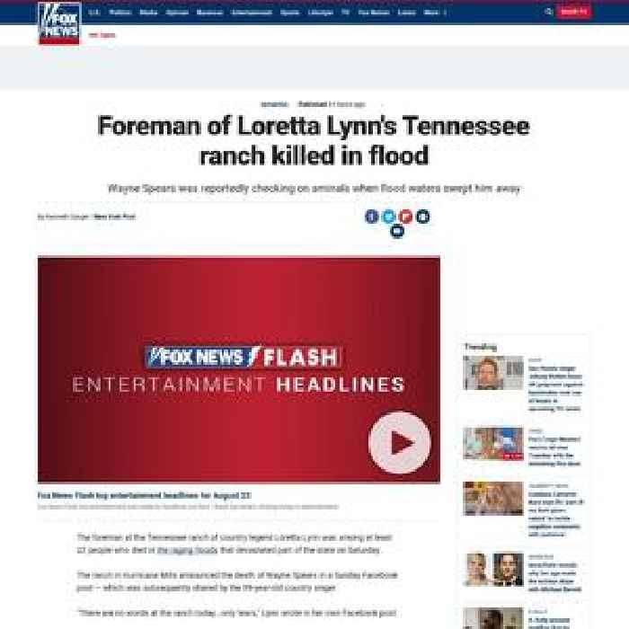 Foreman of Loretta Lynn's Tennessee ranch killed in flood