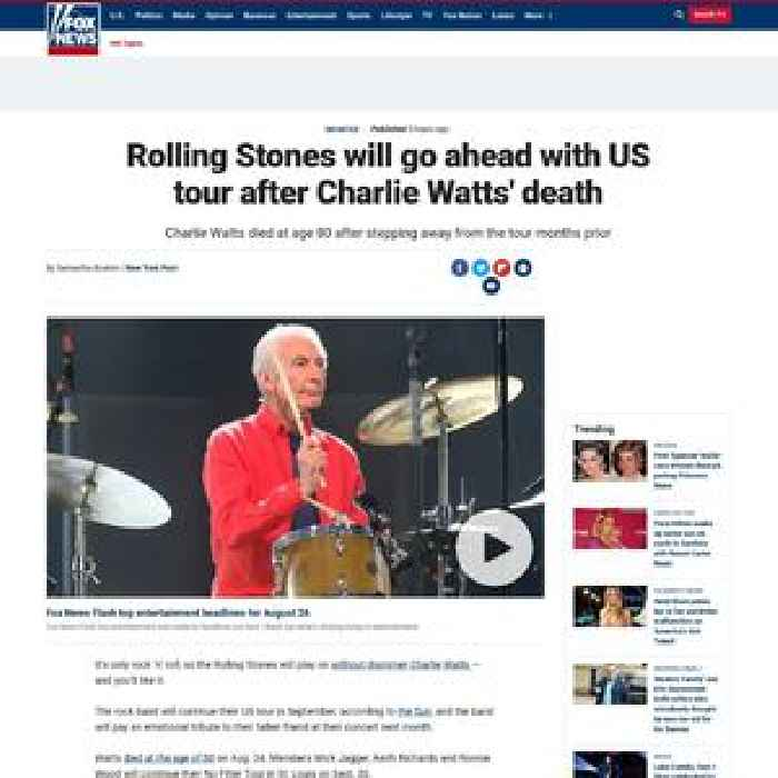 Rolling Stones will go ahead with US tour despite Charlie Watts' death
