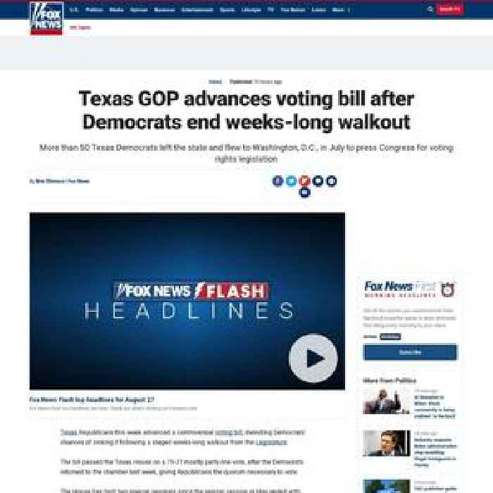 Texas GOP advances voting bill after Democrats end weeks-long walkout