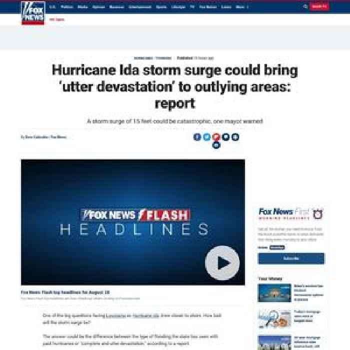 Hurricane Ida storm surge could bring 'utter devastation' to outlying areas: report