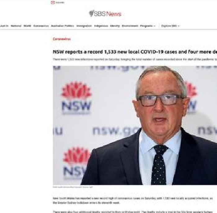 NSW reports a record 1,533 new local COVID-19 cases and four more deaths