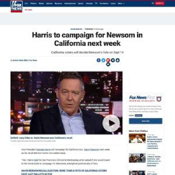 Harris to campaign for Newsom in California next week