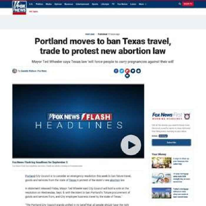Portland moves to ban Texas travel, trade to protest new abortion law