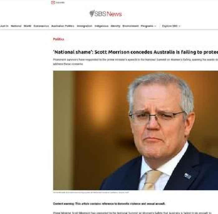 'National shame': Scott Morrison concedes Australia is failing to protect women