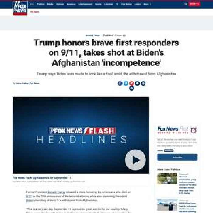 Trump honors brave first responders on 9/11, takes shot at Biden's Afghanistan 'incompetence'